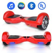 "2 Wheel Self Balance Scooter 6.5"" Red Hoverboard with Bluetooth Speaker UL 2272 Certified"