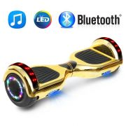 "6.5"" Chrome Gold Bluetooth Hoverboard With LED Sidelights Smart Balance Scooter - UL2272 Certified"