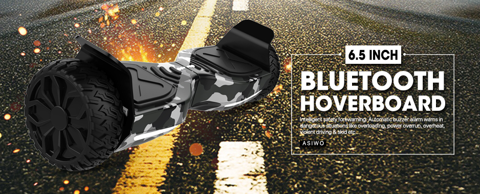 """Camouflage Gray Hoverboard Off Road Wheels UL2272 Certified 8.5"""" Bluetooth Cool Smart Electric Self Balancing Scooter for Kids and Adult"""
