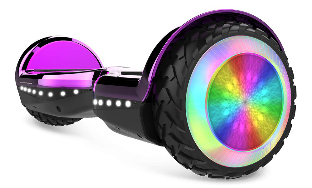 Purple Hoverboard with Bluetooth and LED Lights for Small Kids