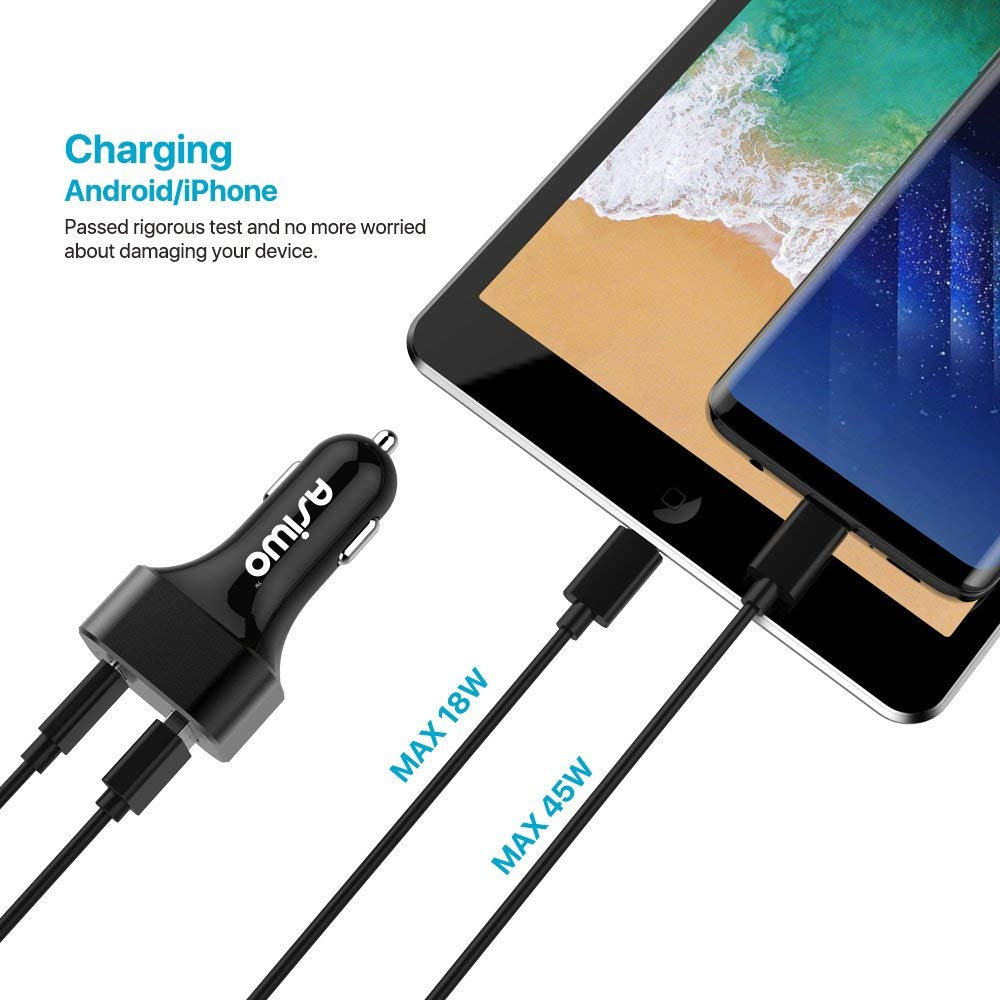 USB Type-c Quick Charge 3.0 Car Charger for Android & iPhone