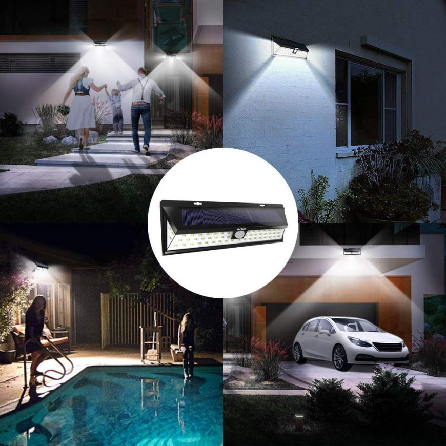 Solar Ed Motion Lights 54 Led Super Bright Outdoor With 270 Wide Angle Ip65 Waterproof Wall For Outside Garden Yard