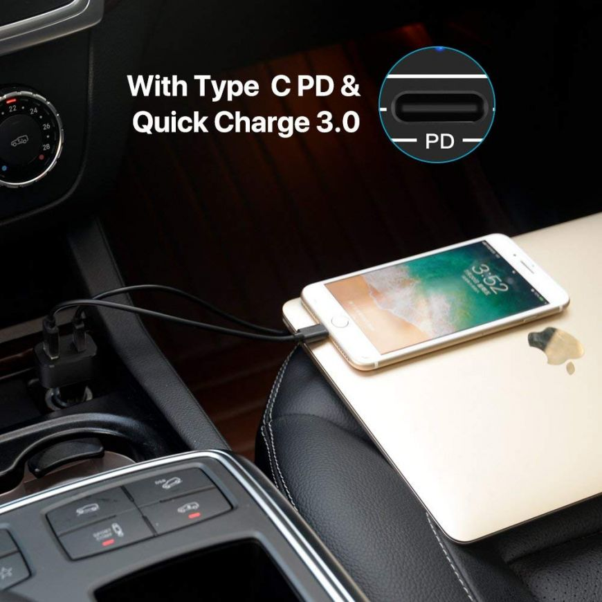 USB Type C Quick Charge 3 0 Car Charger for Android with Charger Cable  Cords Compatible Samsung Galaxy S9 S8 Plus, MacBook, Pixel, iPhone X/8/8  Plus