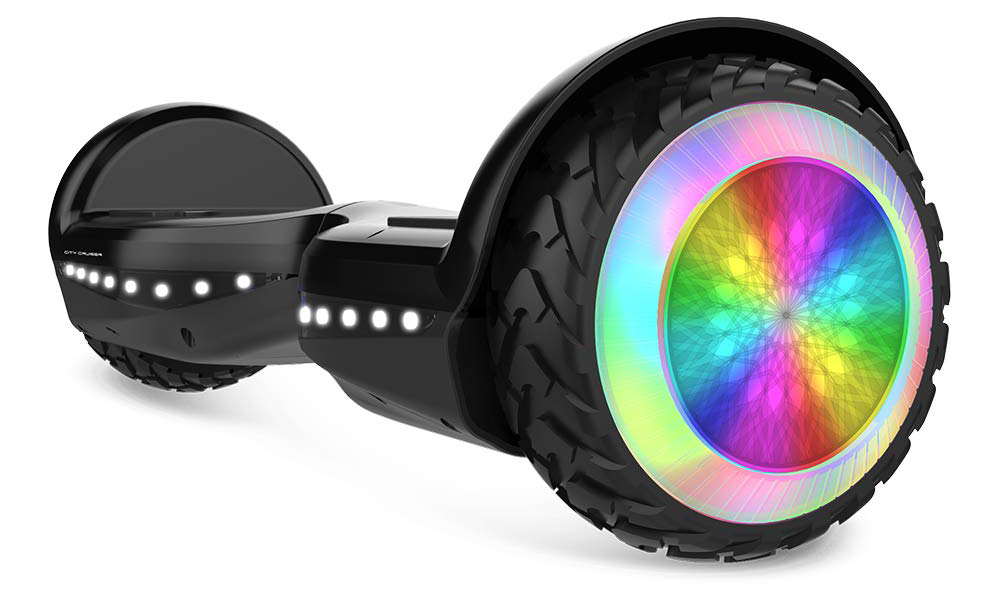 6.5 Inch Black Hoverboard with Lights Bluetooth Speaker Two-Wheel Smart Self Balancing Electric Scooter