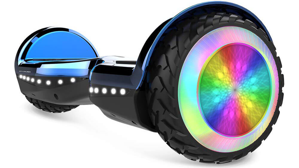 "Mini Hoverboard LED Lights 6.5"" Bluetooth Speaker Self Balancing Scooter for Kids with UL2272 Certified - Blue"