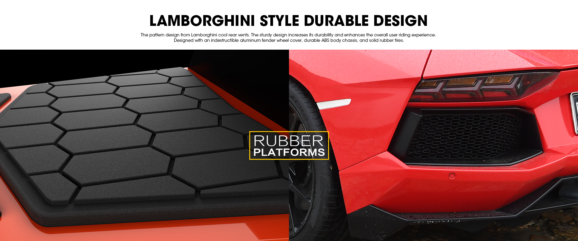 Red Lamborghini Hoverboard 8.5 inch Offical Automobili Lamborghini Authorized Bluetooth Hoverboard - Lamborghini Style Footpads