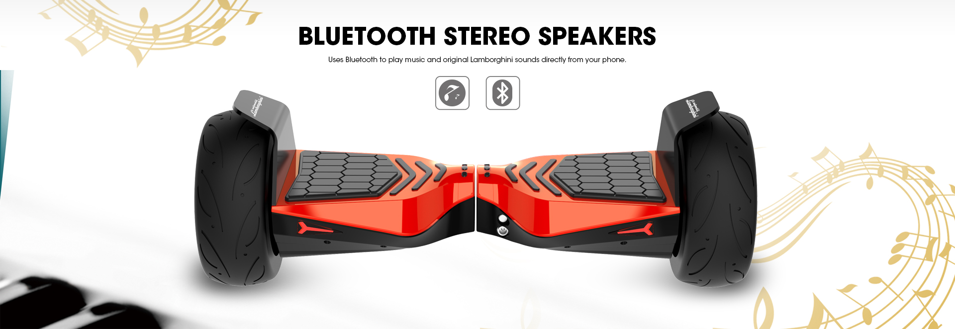 Red Lamborghini Hoverboard 8.5 inch Offical Automobili Lamborghini Authorized Hoverboard with Bluetooth Speaker & App