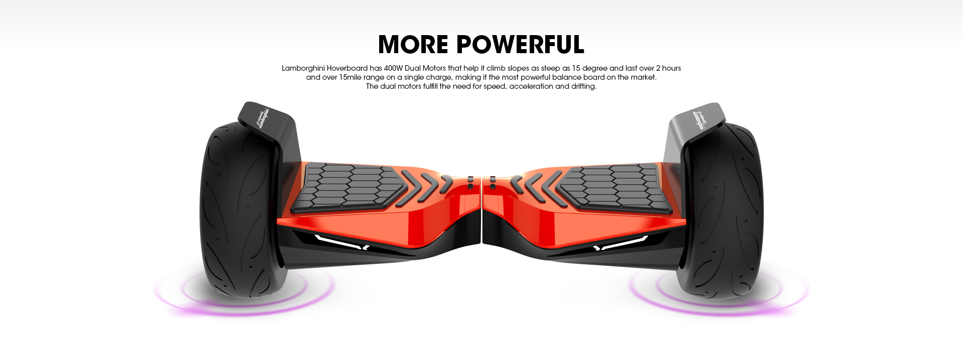 Red Lamborghini Hoverboard 8.5 inch Offical Automobili Lamborghini Authorized Bluetooth Hoverboard - 400W Dual Motors More Powerful